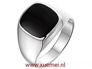 Zilveren zegelring onyx