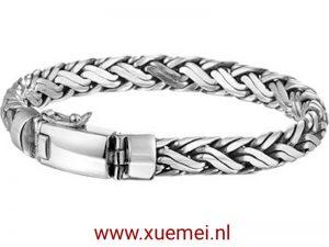 Zilveren armband vossestaart met klik sluiting