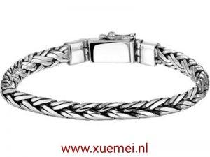 Zilveren armband vossestaart met klik sluiting 8 mm