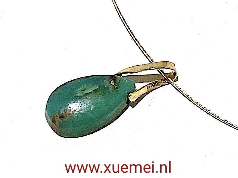 Chrysopraas hanger goud - uniek - edelsmid Xuemei Dijkstal