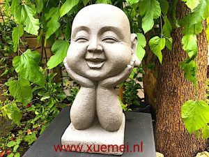 Happy Boeddha twee handen - Xue Mei - Delft