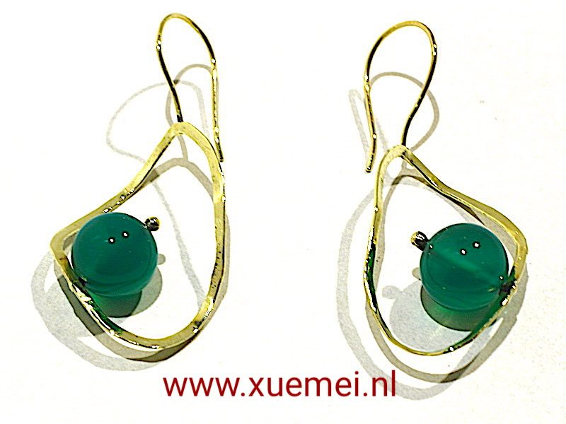"""Gouden oorbellen met groene agaat """"Groen"""""""