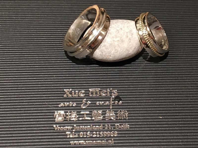 """Zilveren en gouden trouwringen """"you & me"""""""
