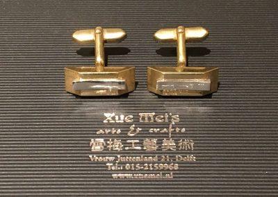Opdracht zilveren vergulden manchetknopen