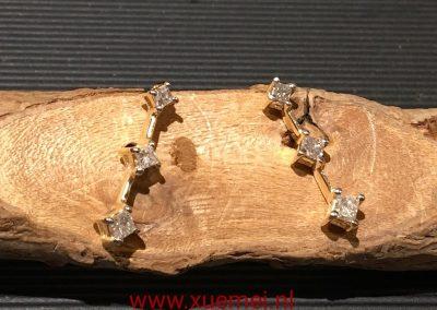 Gouden oorknopen met diamanten aanpassen