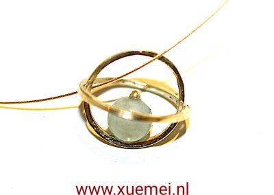 """Gouden hanger met Aquamarijn """"We"""""""
