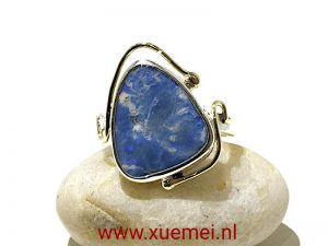 "Zilveren / gouden ring met Opaal ""Hold the wonderful feeling"""