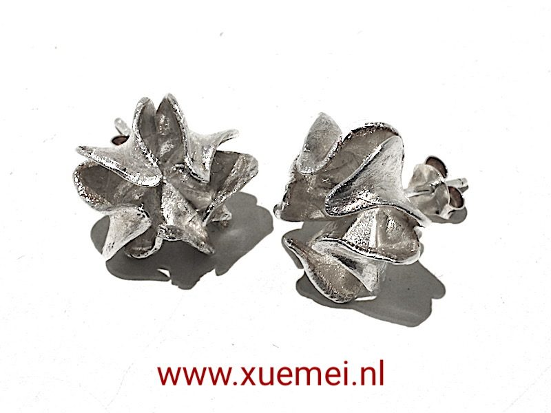 """zilveren oorbellen """"flower"""""""