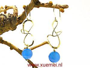 """Gouden oorbellen met blauwe agaat """"Always"""""""