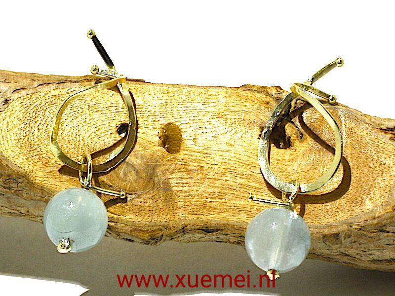 """Gouden oorbellen met Aquamarijn """"Countryside"""""""