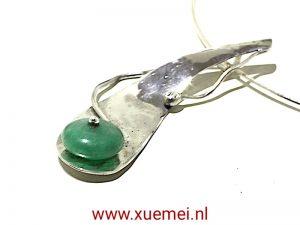 """Zilveren hanger met Jade """"Treasure"""""""