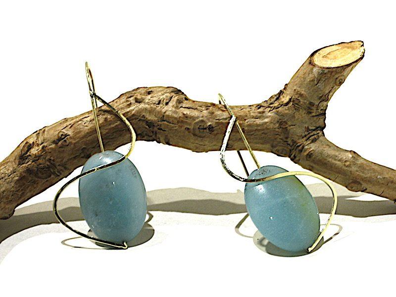 """Gouden oorbellen met Amazoniet """"close to you"""""""