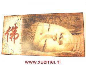 Houten Boeddha paneel met liggende Boeddha