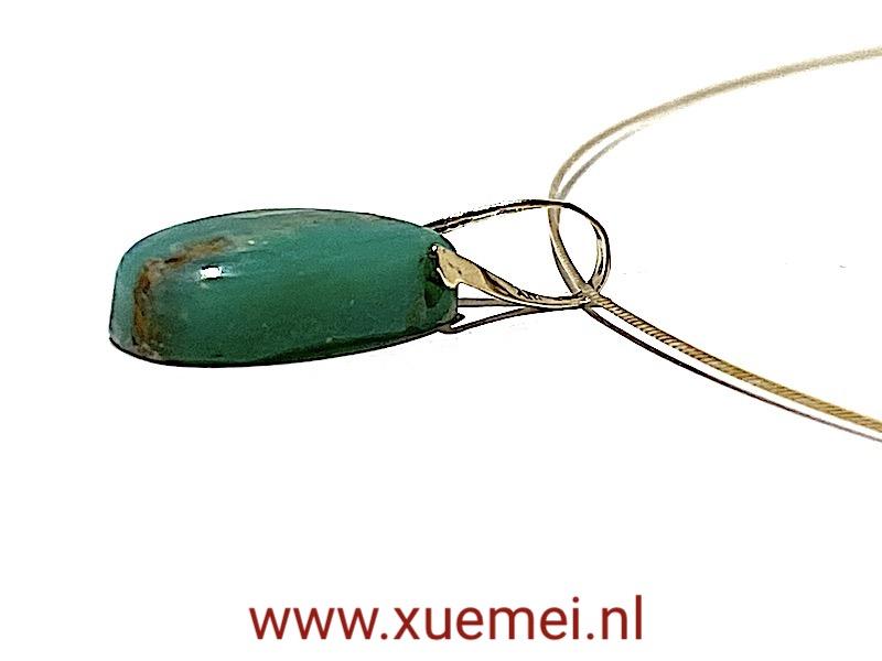 gouden hanger Chrysopraas - uniek - edelsmid Xuemei Dijkstal