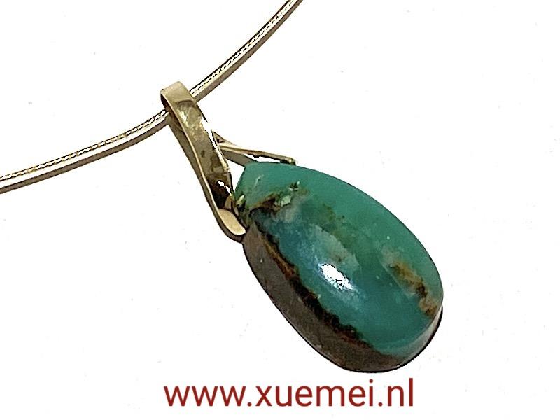 gouden hanger groen steen - Chrysopraas - edelsmid Xuemei Dijkstal