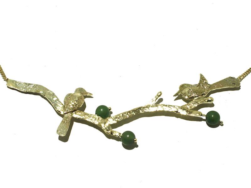 gouden ketting met vogels en Jade