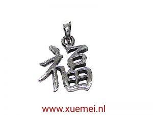 "Zilveren hanger Chinese en Japanse karakter ""Geluk"" klein"