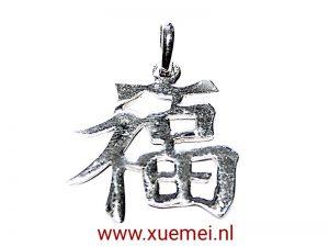 "Zilveren hanger Chinese en Japanse karakter ""Geluk"" medium"