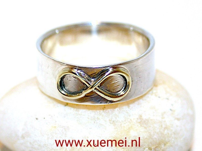 Gouden Lemniscaat op zilveren ring