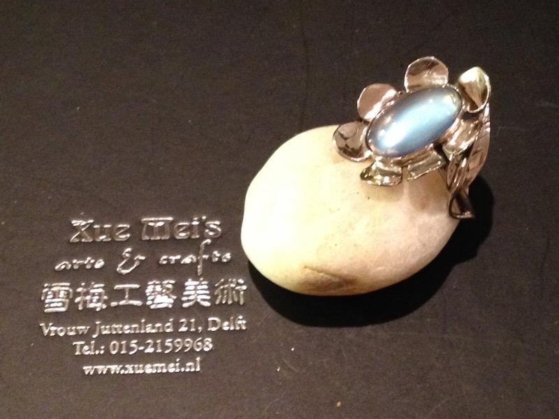 Opdracht witgouden ring met maansteen