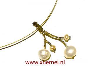 gouden hanger parel - levensboom - edelsmid Xue Mei- Delft