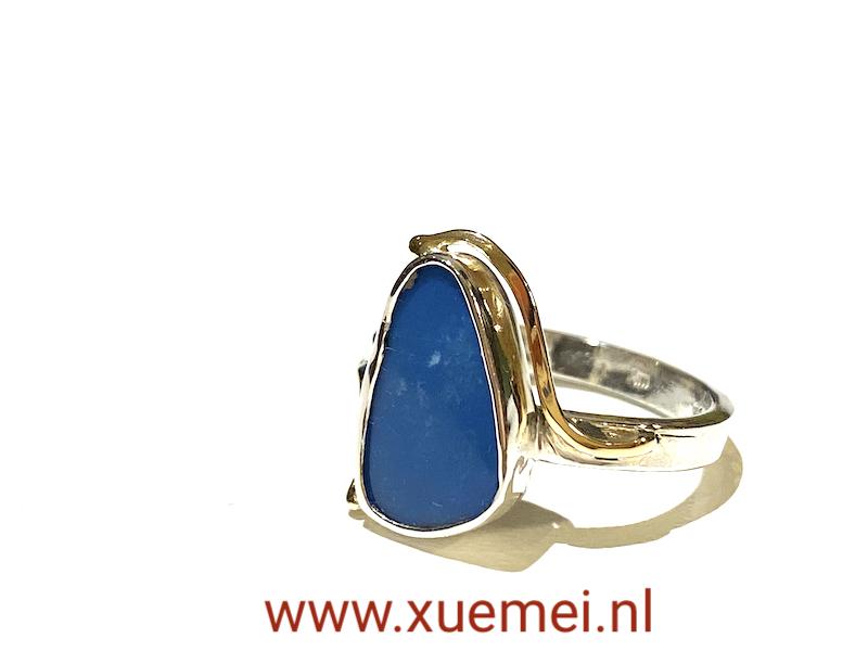 zilveren gouden ring met opaal - uniek - edelsmid Xuemei Dijkstal