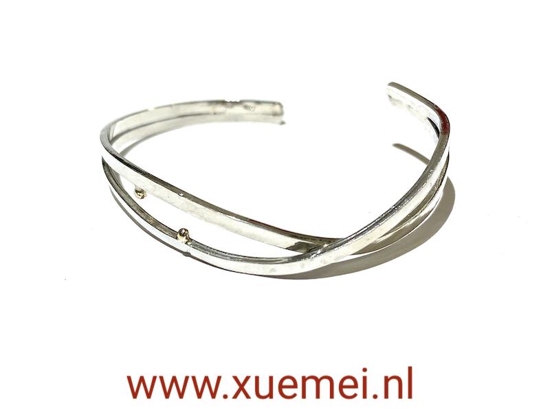 zilveren slavenarmband handgemaakt - met goud - edelsmid Xuemei Dijkstal