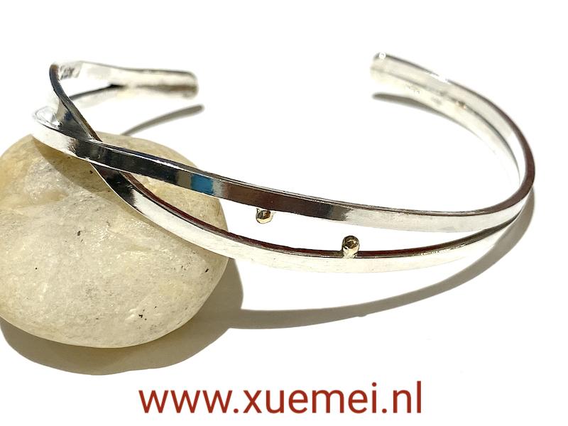 zilveren slavenarmband uniek - met goud - edelsmid Xuemei Dijkstal