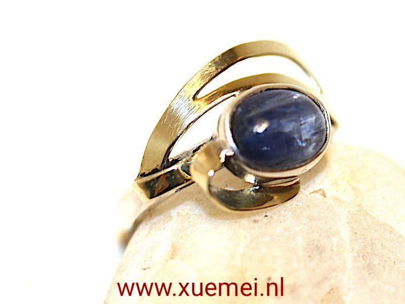 Zilveren gouden ring met Tanzaniet handgemaakt van edelsmid Xuemei Dijkstal