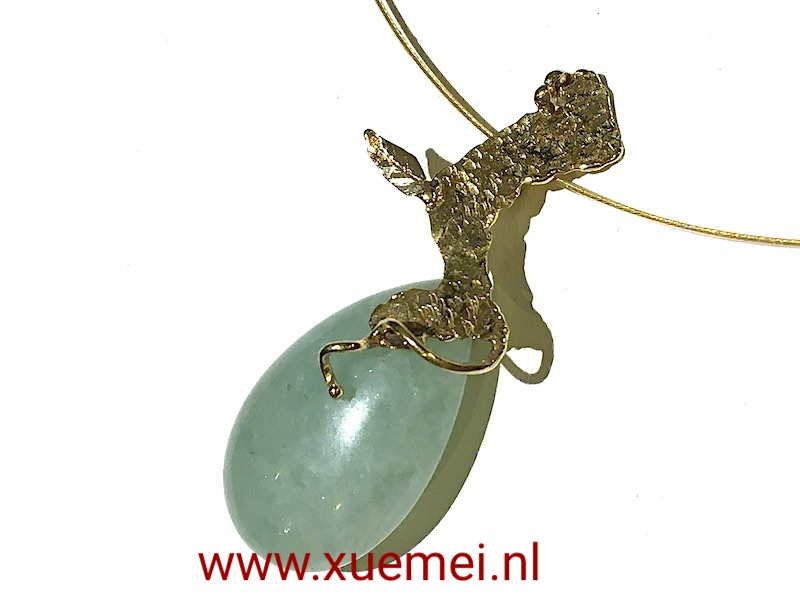 gouden-hanger-aventurijn-groen-steen-edelsmid-Xuemei-Dijkstal