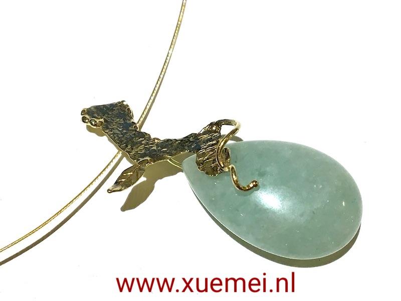 gouden-hanger-groen-steen-aventurijn-goudsmid-Xuemei-Dijksta