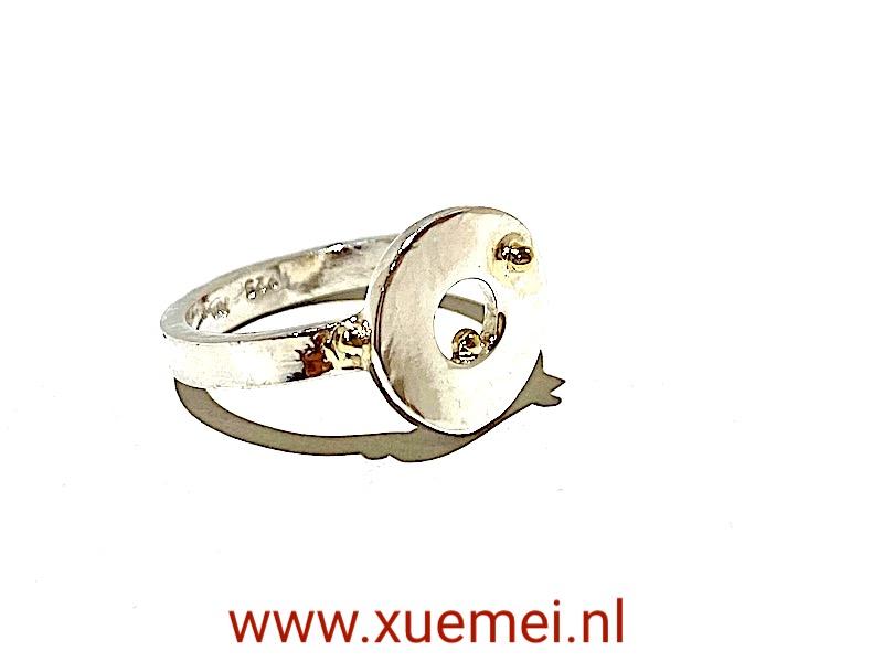 zilveren ring geluksmunt - uniek - edelsmid Xuemei Dijkstal