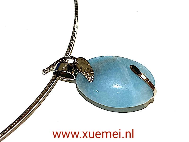 witgouden ketting met blauwe edelstenen - amazoniet - edelsmid Xuemei Dijkstal