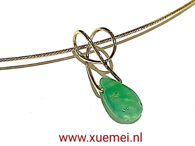 chrysopraas hanger goud - uniek - edelsmid Xuemei Dijkstal.