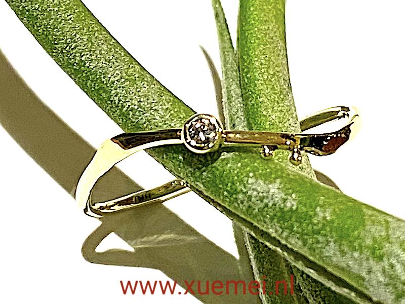 diamant ring goud - edelsmid Xuemei Dijkstal - verlovingsring