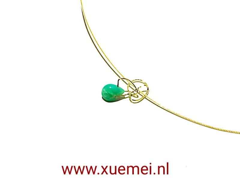 gouden-hanger-Chrysopraas-goudsmid-Delft-Xuemei-Dijkstal.