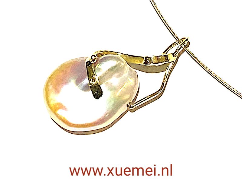 gouden hanger parel - uniek - goudsmid Xuemei Dijkstal