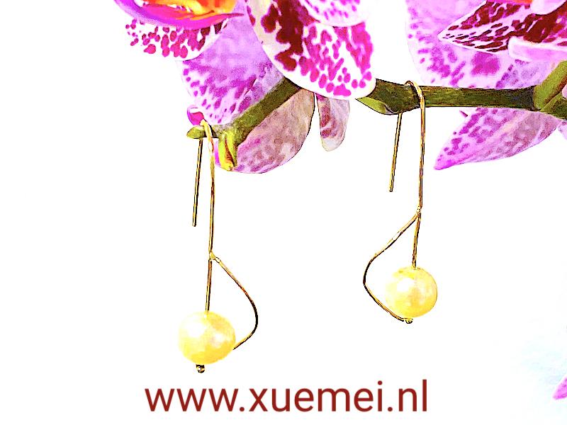 parel oorbellen goud - handgemaakt - goudsmid Xuemei Dijkstal