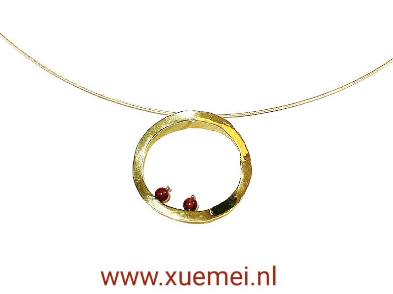 cirkel van het leven hanger goud - goudsmid Xuemei Dijkstal - uniek - circle of life - one of a kind jewelry