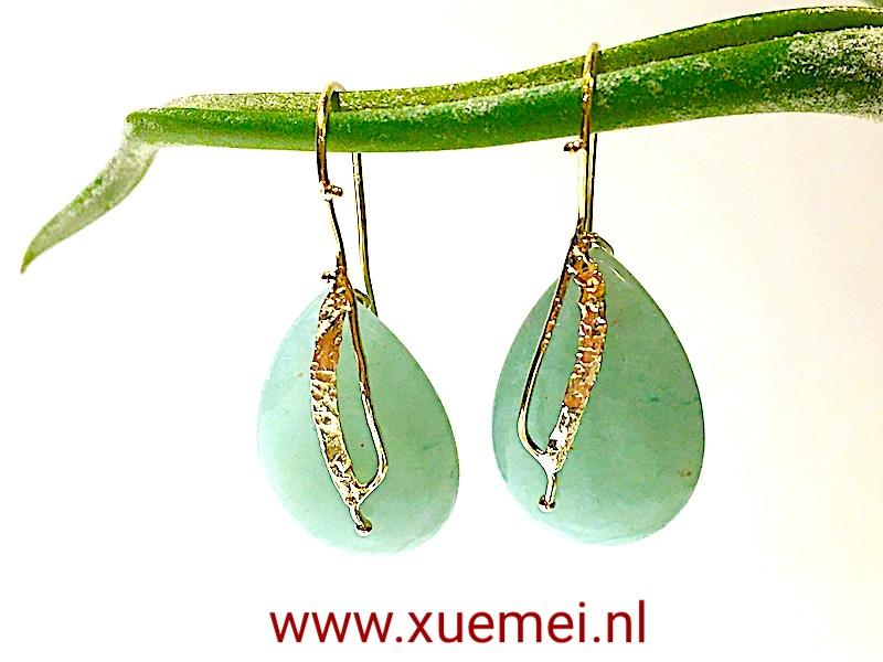 gouden-oorbellen-aventurijn-groen-steen-edelsmid-Xuemei. Dijkstal