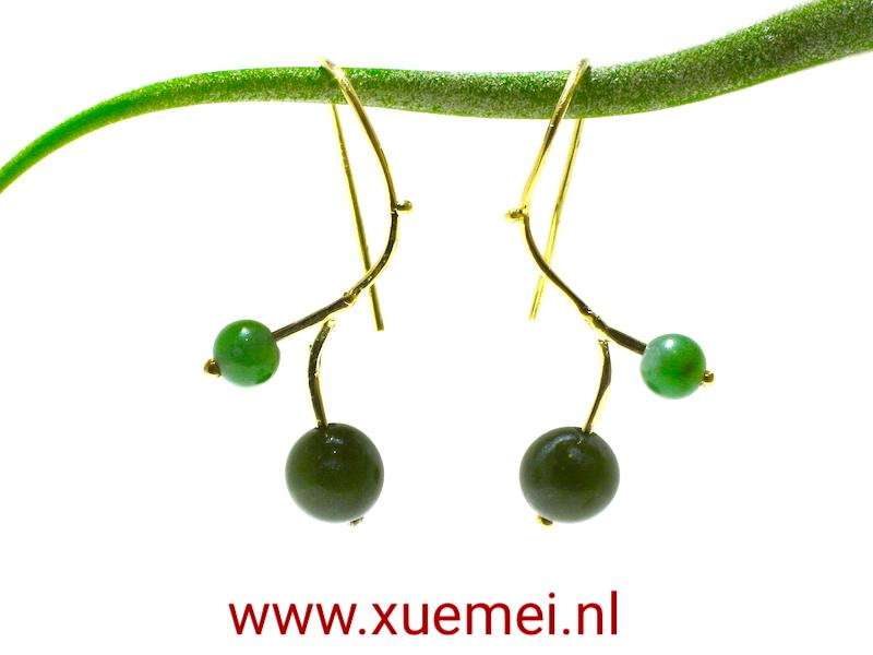 gouden oorbellen jade - edelsmid Xuemei Dijkstal