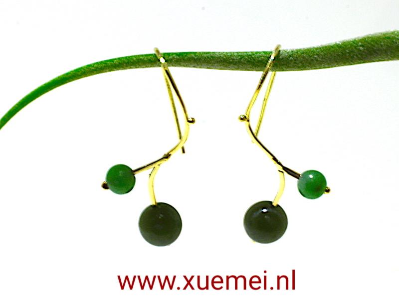 gouden oorbellen jade - edelsmid Xuemei dijkstal - Delft