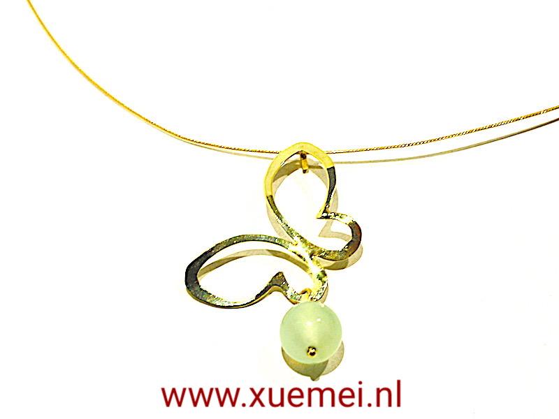 """Gouden hanger vlinder """"Butterfly"""" met jade"""