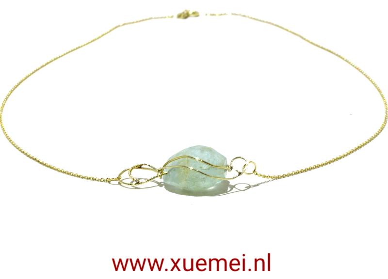 gouden collier aquamarijn - goudsmid Xuemei Dijkstal