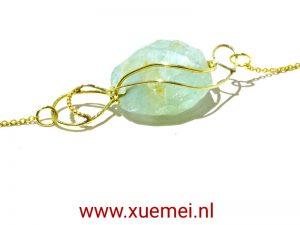 gouden ketting aquamarijn - edelsmid Xuemei Dijkstal