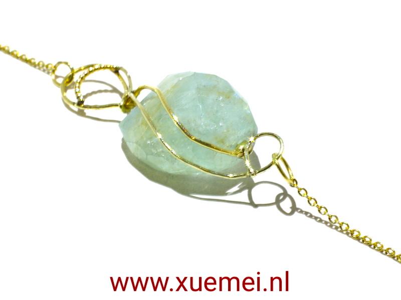 gouden ketting aquamarijn - juwelier en edelsmid Delft - Xuemei Dijkstal