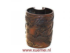 Bronzen penhouder met phoenix en wolken