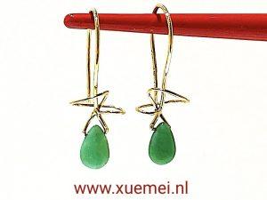 Chrysopraas oorbellen goud - groen steen - edelsmid Xuemei Dijkstal - Delft