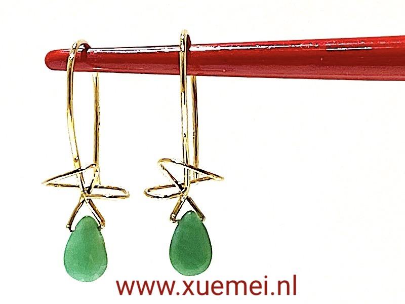 gouden oorbellen Chrysopraas - uniek - edelsmid Xuemei Dijkstal
