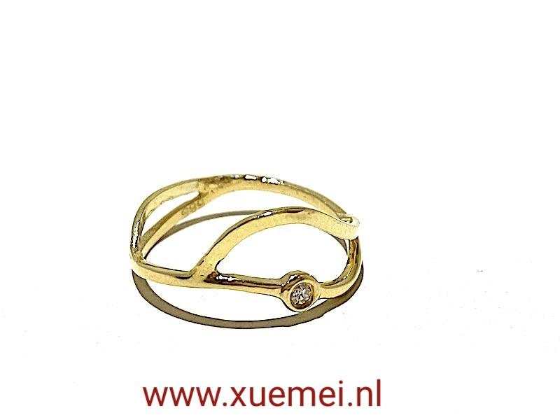 gouden verlovingsring diamant - golven - edelsmid Xuemei Dijkstal